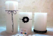 Candele decorate / Candele di pura cera colata a mano, decorate con applicazioni all'uncinetto.
