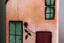 Wooden Homes / Handmade wooden homes, made by pallet wood and painted with acrylics by Anna Vassila.