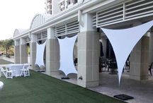 Shade Sails and Spandex Designs / Premier Table Linens now manufactures Spandex Shade Sails, 3 and 4-way Stretch, and Spandex Cones. The sails look spectacular by themselves but can be further customized with lighting for a unique design. Proudly manufactured by us in the United States, and ideal for decorating parties, special events, DJ Setups, restaurants, nightclubs, and hotels.