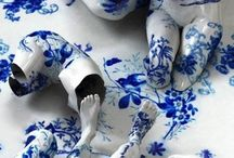 Kim Joon / Korean artist Kim Joon fabricates images of fragments of hollow porcelain that resemble nude bodies. Through a digital process, he coats the anthropomorphic forms in bold patters from ceramic brands.