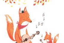 Ilustracja liski / słodkie liski, rude ilustracje