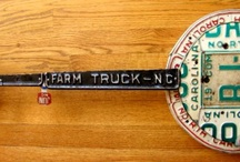 Guitar Art - License Plate Art - Banjos / Custom banjo-style art handcrafted from license plates. Unique guitar decor that can be personalized for each individual.