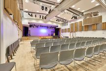 Putney High School Project / A selection of our acoustic wood products were specified for the new performing arts centre at Putney High School and installed by our team. Acoustic products: Soundtrac stretch fabric system, Oak QRD's, modular timber balaconies, Oak Diffractals and fabric wrapped panels. Photos @adamcoupephotographylimited
