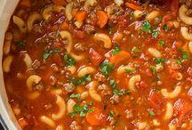 Bef and tomato macaroni soup