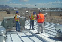 Metalwalk / Rooftop walkway with OSHA compliant safety handrail system for pre-engineered metal building roof systems.
