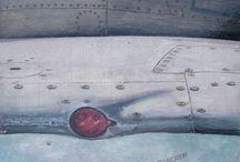 L'ŒIL DE MOSCOU / Avion/ russe/PEINTURE  Huile sur panneau de médium 40 x40