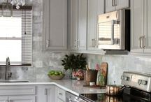 Kitchen - Grey white classic traditional / Grey white classic traditional or brick backsplash