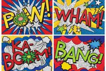 Onomatopoeia art in Fabrics/ ideas