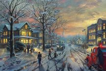 Christmas Festive by Thomas Kinkade / The look of Christmas, the spirit of the holiday, with its trees and garlands and twinkling lights, the warmth, the joy, the good fellowship and family feeling. Thomas Kinkade loved the contrast of the cold gleam of moonlight on snow with the warm radiance of golden light pouring through the windows of a festively decorated cottage. That golden glow is truly the light of love.
