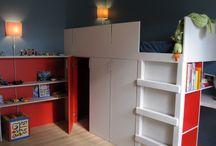 170m² - Anthony / La construction de cette maison était déjà bien avancée lorsque j'ai entrepris une mission de conseils relative aux choix des matériaux et couleurs, création de menuiserie sur mesure et aménagement des chambres d'enfants.