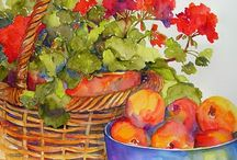 Aquarelles of Marilyn Lebhar / Floral, colourful watercolours that lift the spirits.