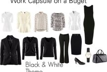 B & W capsule wardrobe / Monochrome, black, white and grey outfits.