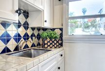 Kitchen Counter Top and Backsplash with Mexican Tiles