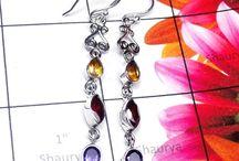 Gemstone Earring / Sterling Silver Multi Gemstone Earring