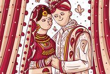 Hindu Punjabi - North Indian Wedding Invite / Indian Wedding Cards / Wedding Cards Indian Invites / Quirky Invites / SCDBalaji / SCDB / Illustrated Invites / Invite Illustration / Indian Illustrator / Bride Groom Illustration / Big Fat Wedding / Wedding Stationary / Invites / Indian Wedding / Indian Folk / / BridesofSCDBI / Save The Date Cards / Wedding Branding / e Invites / South Indian Wedding