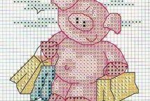 haft krzyzykowy świnki