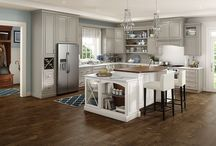 Princeton Maple / Schuler Cabinetry Princeton maple Harbor Mist; Island shown in oak Cottage White