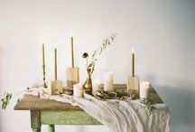 Wooden blocks, blue and flowers