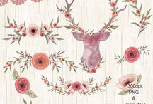 watercolor invite / watercolor invite, deer, watercolor flowers, garland lace, scrapbooking ,antlers and flowers, boho flowers
