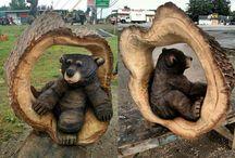 резные медведи