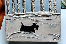 Scottie dog textured Art
