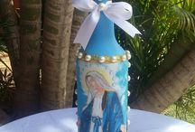 garrafas decoradas com santos