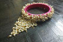 sleekthreads / slik thread jewellery slik thread bangle's slik threads ear rings #hand made #self customised