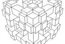 MÅLARBOKBOK FÖR VUXNA: GEOMETRISKA (3D?)