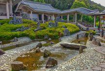 Shōfūen Gardens of Matsunoo-taisha in Kyoto. / In the precincts of the Matsunoo-taisha (松尾大社) in Kyoto, there are three gardens called Shōfūen (松風苑三庭). These three famous gardens are: Jōko Garden (上古の庭), Hōrai Garden (蓬莱の庭) and Kyokusui Garden (曲水の庭). These gardens were designed by Mirei Shigemori (重森三玲) during the Shōwa era (昭和時代).