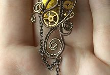 """Steampunk & Assemblage Art / """"Steampunk is a genre that originated during the 1980s and early 1990s and incorporates elements of science fiction, fantasy, alternate history, horror, and speculative fiction. It involves a setting where steam power is widely used—whether in an alternative history such as Victorian era Britain or """"Wild West""""-era United States, or in a post-apocalyptic time —that incorporates elements of either science fiction or fantasy.  feature anachronistic technology, or futuristic"""" Wikipedia / by Amanda Panda"""