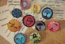 handmade button badges / As a new leisure time activity, the wooden handmade button badges