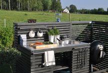 Outdoor kitchens / Кухня на воздухе, место готовки еды в саду, Мангал, Беседка, Кухонная зона в саду, Печь для Пиццы