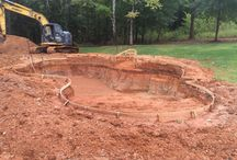 Sherwood - Project / Current swimming pool project under construction. Freeform swimming pool with raised bond beam and waterfall.