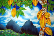 SILK PAINTING OF LANDSCAPES : JEAN-BAPTISTE / A collection of  original landscape  silk paintings by master silk artist Jean-Baptiste  of  Saint Lucia.