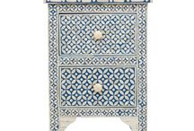 Neela Bone Inlay Furniture / Our Neela Moroccan inspired bone inlay furniture combines hand carved bone and azure blue resin in geometric patterns, showcasing Indian artistry and craftsmanship. Superbly finished and detailed with vibrant cobalt painted interiors, each wonderfully decorative yet practical piece of is a 'jewel' for your home.