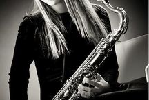With saxophone