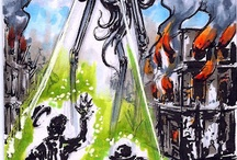 Sketch cards for Cult Stuff - war of the worlds