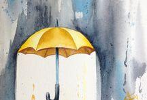 Art: Raindrops and Umbrellas