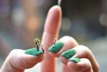 Blue & Green Nails / Stylish Simple One-color Nails