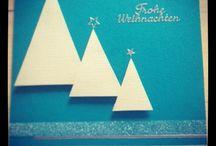 Weihnachtskarte!  / Türkis/ creme farbige Weihnachtskarte