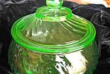 green depression glass / by Betsy Peterson