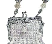 Bridal Vintage Knit Beaded Purses / Knit Beaded Bridal Purse in White, Champagne, and Off-White.