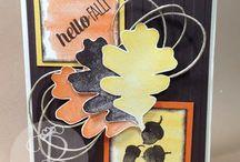 Fall / Autumn Cards & Decor / Handmade / handstamped card ideas made by Lisa Ann Bernard of Queen B Creations for fall, autumn, thanksgiving