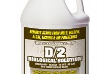 D/2 Biological Solution / Tested and used by the Department of Veterans Affairs and the National Park Service, D/2 is a biodegradable cleaner that is ph neutral and contains no salts, bleach or acids. It is highly effective for removing stains caused by mold, mildew, algae, lichens and air pollutants. D/2 is a safer, easy to use liquid that removes a broad spectrum of environmental soils and stains from structures and architectural features. Restore brick, stone, concrete, wood, vinyl & aluminum siding, fiberglass, metal