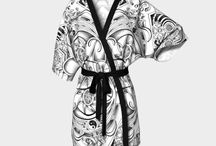 Kimono Robes / Ethically Made in Canada. Art by Shane Wilcox, designed by Kim in Studio Shim.