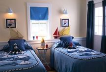 Boys' Bedrooms / Decor suited for boys' spaces - vintage cars, trucks, planes, space ships, robots, Lego, clocks, linens, curtains, furniture, storage ideas