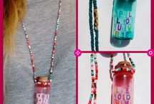 """Glass Bottle Necklaces / Various Mini Glass Bottle Necklaces filled with fun things, all made by me, Sunshine N"""" Lemons.  Available on Etsy. Sunshine N' Lemons #SunshineNLemons"""