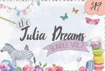 The Julia Dreams Bundle - Vol.2 / Check out the new Julia Dreams bundle! Included are 20 fantastic fonts and 18 amazing graphics packs! That's hundreds of patterns, thousands of graphics and much more to add to your design toolbox!