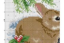 вышивка крестом - зайцы