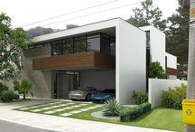 fachadas e plantas de casa